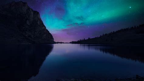 Aurora Borealis Atmosphere Night Sky Stars Wallpaper