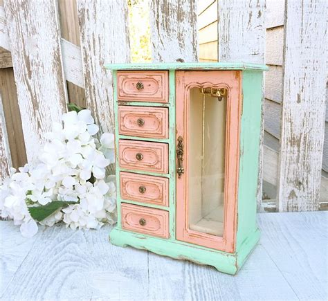 two tone mint and pink shabby chic jewelry box by huckleberryvntg french country pinterest