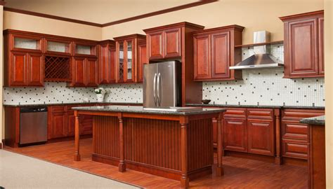 charleston kitchen cabinets cambridge cherry glaze ready to assemble kitchen