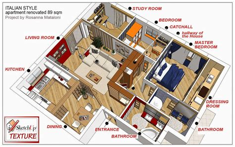 3 Bedroom House Floor Plans by Sketchup Texture Sketchup Model Loft Amp Apartment