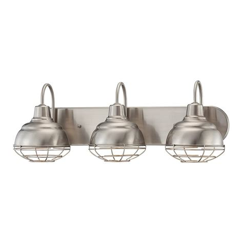 Industrial Bathroom Vanity Lighting Shop Millennium Lighting 3 Light Neo Industrial Satin Nickel Standard Bathroom Vanity Light At