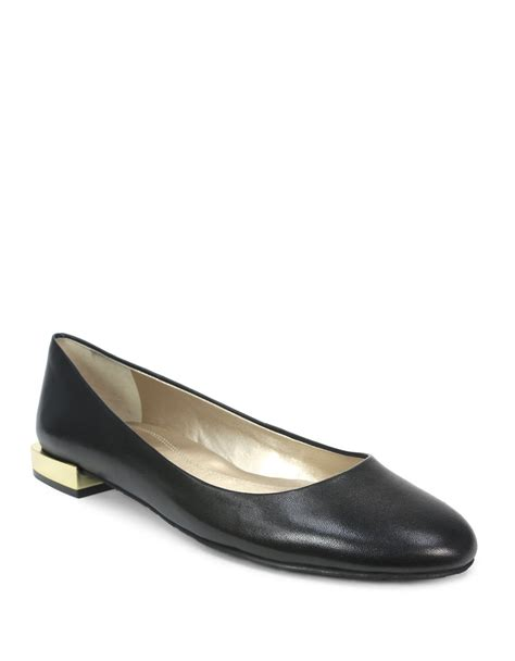 tahari flat shoes lyst tahari ranma leather block heel flats in black