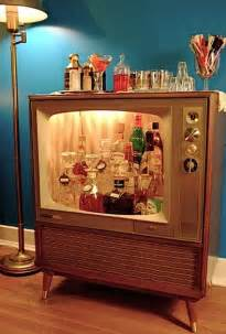 vintage console televisions converted to liquor