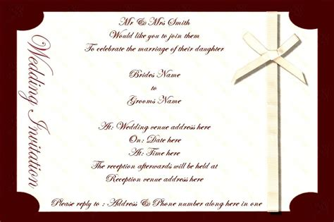 invitation card template free free sles of wedding invitation cards indian wedding