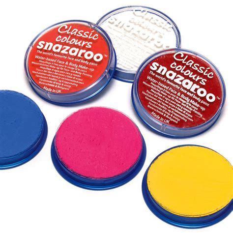 snazaroo classic paint 18ml colors chart paint