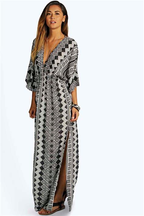 Maxy Kimono monochrome aztec kimono maxi dress at boohoo
