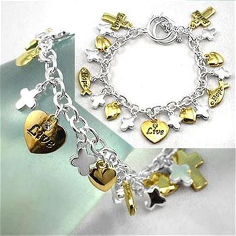 NEW ChaRm BraCeLet FAith HOPE LovE SilveR GOLD TOggle Heart CROSS RHINESTONE   Faith Style
