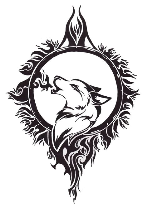 wolf dreamcatcher tribal tattoo design