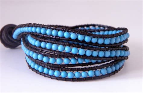 Wrap Bracelet tutorial chan luu turquoise wrap bracelet buatkalunggelang