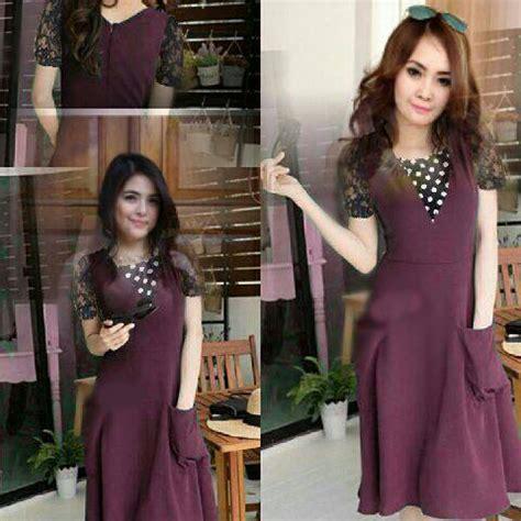 Dress Cantik Ungu baju mini dress ungu wanita cantik model terbaru murah