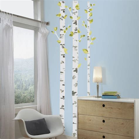 peel and stick wall decor roommates 5 in x 19 in birch trees peel and stick giant