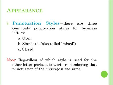 Business Letter Punctuation Business Letters