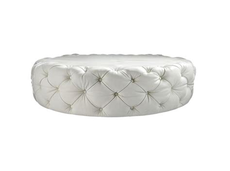 round white leather ottoman contemporary round diamond glass button white leather