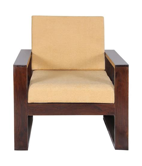 Sheesham Wood Sofa Chair With Beige Cushion Buy Online At