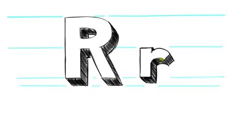 how to draw 3d letters r uppercase r and lowercase r in