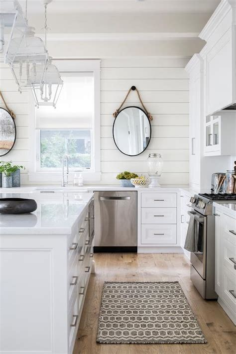 Shiplap Kitchen Backsplash White Flat Front Cabinets With Charcoal Gray Quartz