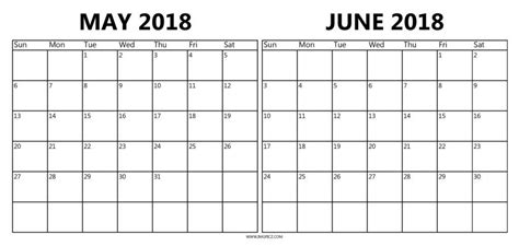 Calendar December 2017 To June 2018 May And June 2018 Calendar Printable Journalingsage