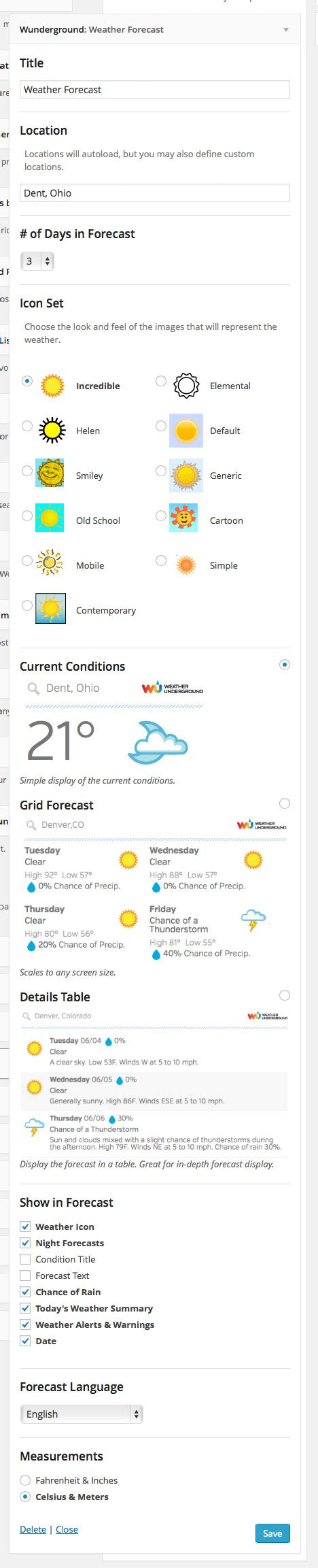 wordpress vertical layout weather underground wordpress plugins
