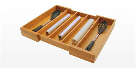 Flatware Drawer Storage by Expandable Drawer And Flatware Organizer Bamboo Kitchen