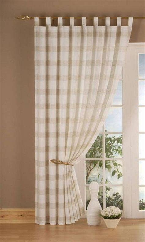 cream check curtains linen check cream panel 150cm net curtain 2 curtains
