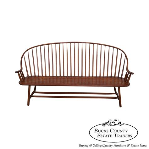windsor back bench 8650 hunt country furniture long windsor spindle back