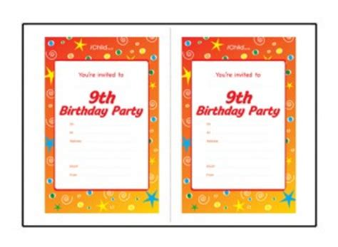 9th birthday card template birthday invitation templates for 9 year 9th