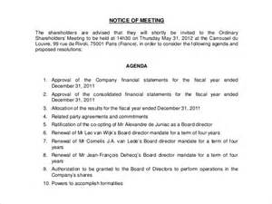 Notice Of Meeting Template notice of meeting 26 free word excel ppt pdf