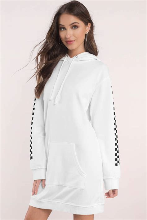 Id 3678 Hoody Dress white hoodie checkered sleeve white sweatshirt