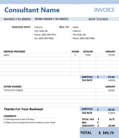 Invoice Template For Consulting Services consultant invoice