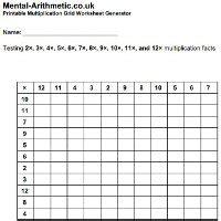 multiplication grids pdf worksheet generator mental