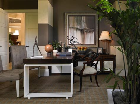 transitional home office photos hgtv contemporary home office with dark stained partner s desk
