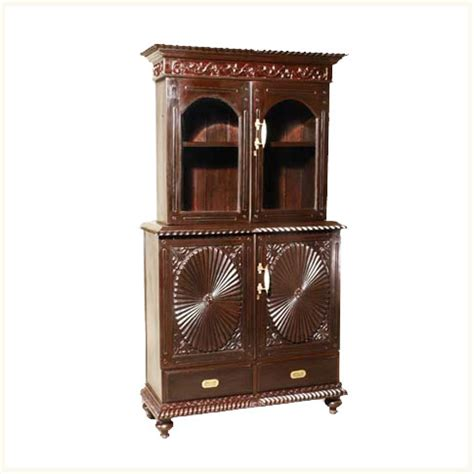 armoire bookcase lawrie sunburst armoire and bookcase anglo indian burma