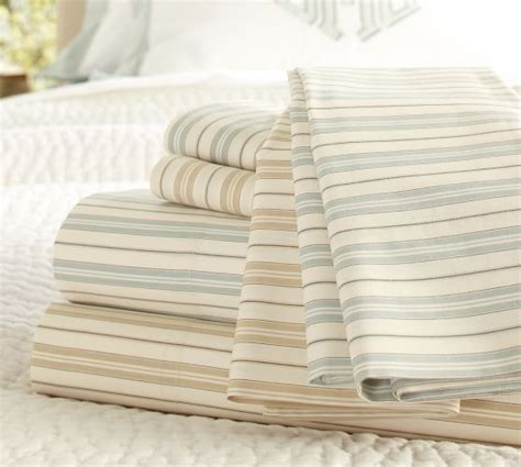 striped bed sheets henri ticking stripe organic sheet set pottery barn