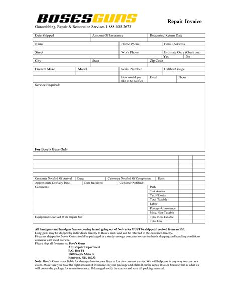 parts and labor invoice template free 100 images auto repair