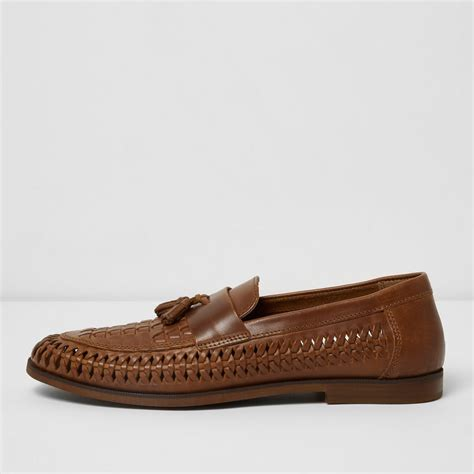 woven loafer river island woven leather loafers in brown for lyst