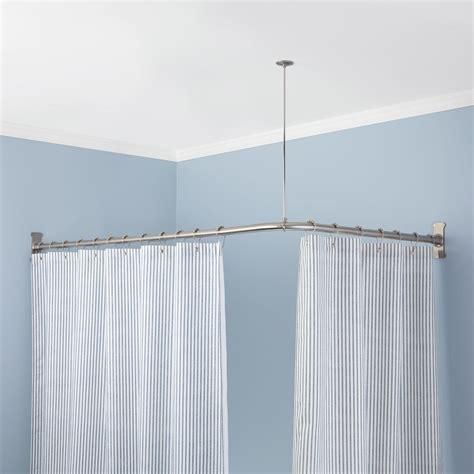 Sunrise curved corner mounted shower curtain rod shower curtain