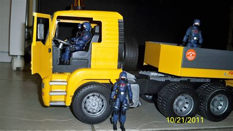 Jo In Toys 2 Installed bruder flatbed truck w opening doors hisstank