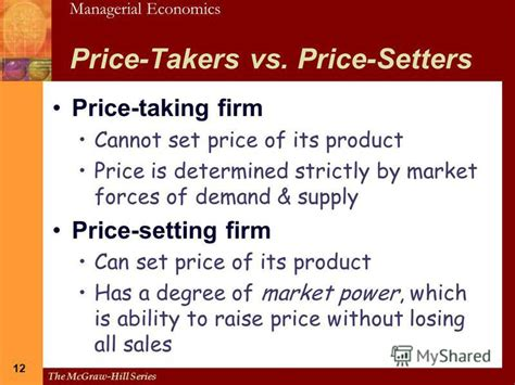price setter definition презентация на тему quot the mcgraw hill series managerial