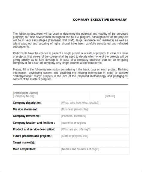 7 Executive Summary Exles Free Premium Templates Business Overview Template