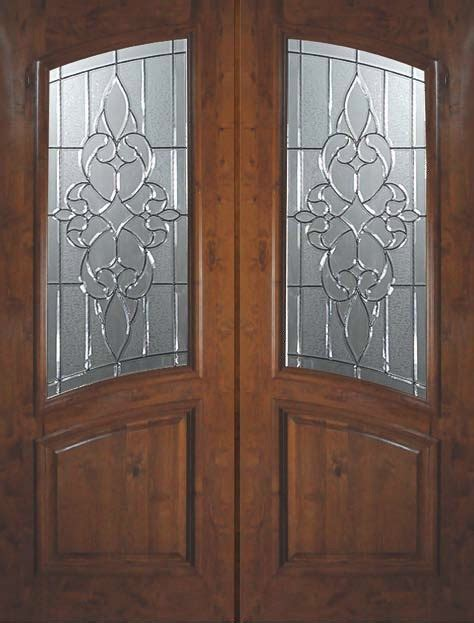 Slab Exterior Double Door 96 Knotty Alder Courtlandt Arch Slab Exterior Door