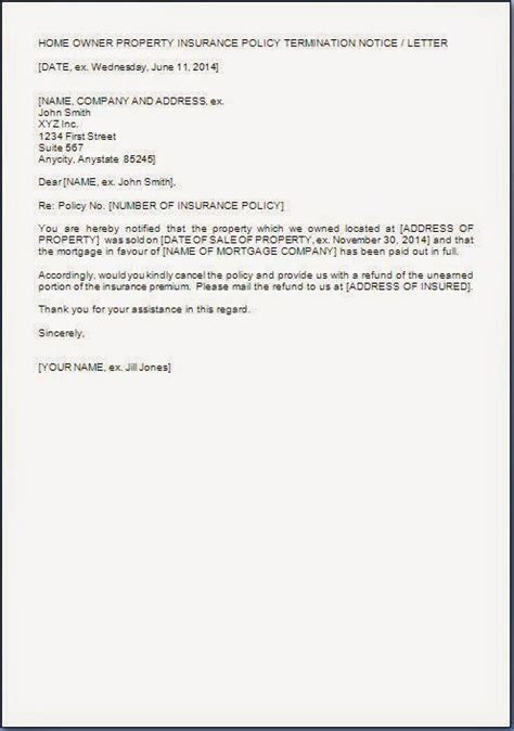 letter format of cancellation house insurance cancellation letter