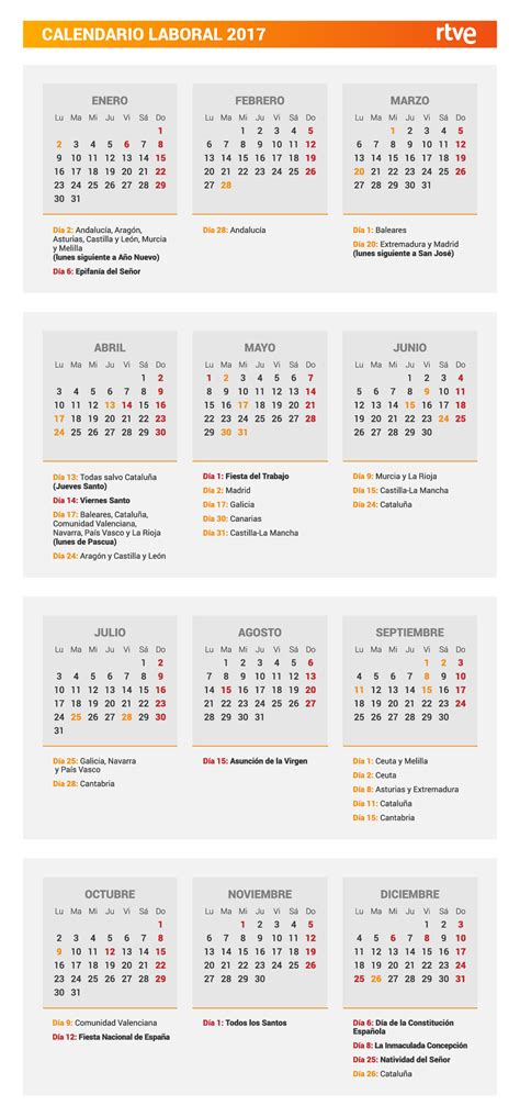 Calendario Laboral Comunidad De Madrid 2017 Calendario Laboral 2017