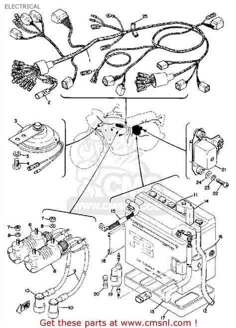 yamaha tx750 1973 1974 electrical schematic partsfiche
