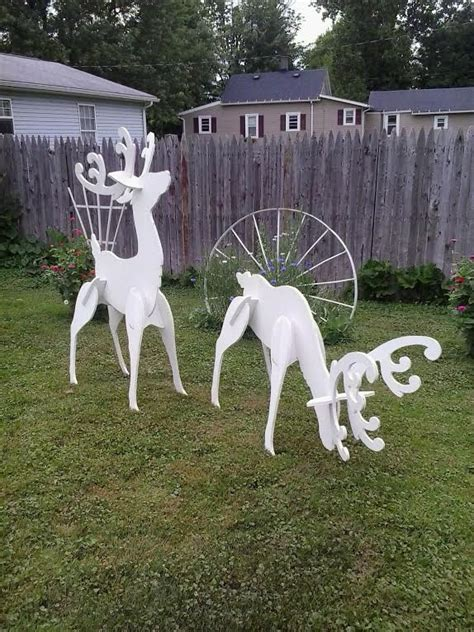 white wooden reindeer outdoor white reindeer wood yard lawn decoration