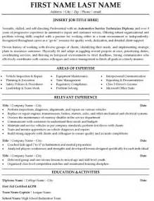 auto mechanic resume sles automotive service technician resume sle template