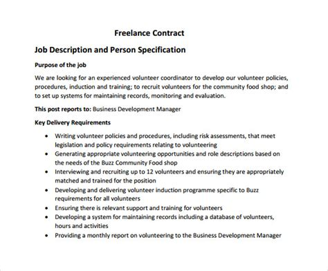 freelance contract template 9 free sles exles