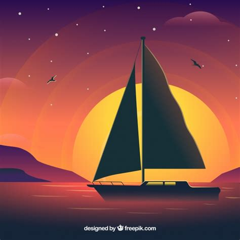 sailing boat background sailing boat on sunset background vector free download