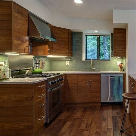 Green Kitchen Cabinets Ikea A Functional L Shaped Kitchen Design Featuring White Walls
