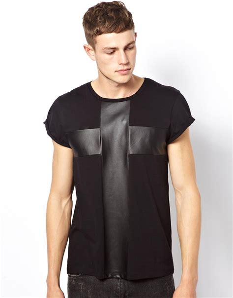 T Shirt Printing Cross mens t shirt with leather look cross insert buy t shirt