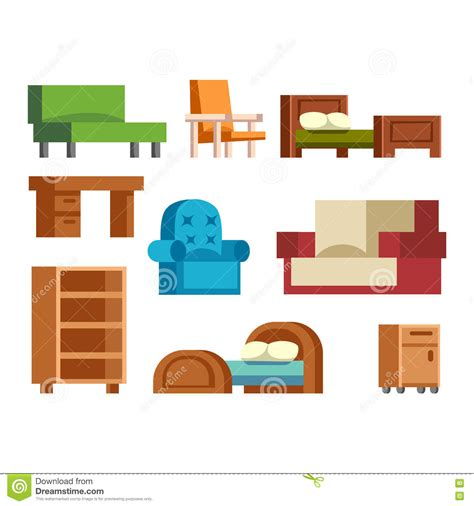 furniture icons vector isolated stock vector image 78439726